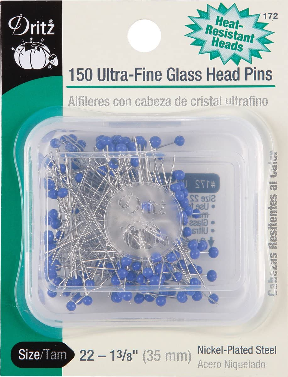 "# 182 Dritz 100 Glass Head Pins Size 20-1 1//4/"" Long Heat Resistant Heads"