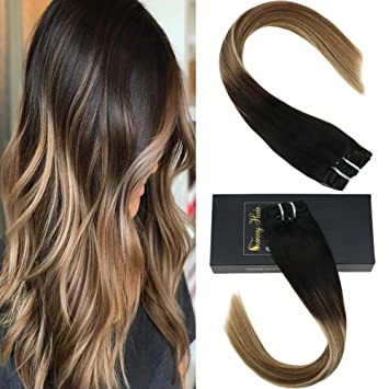 Blonde balayage clip in hair extensions