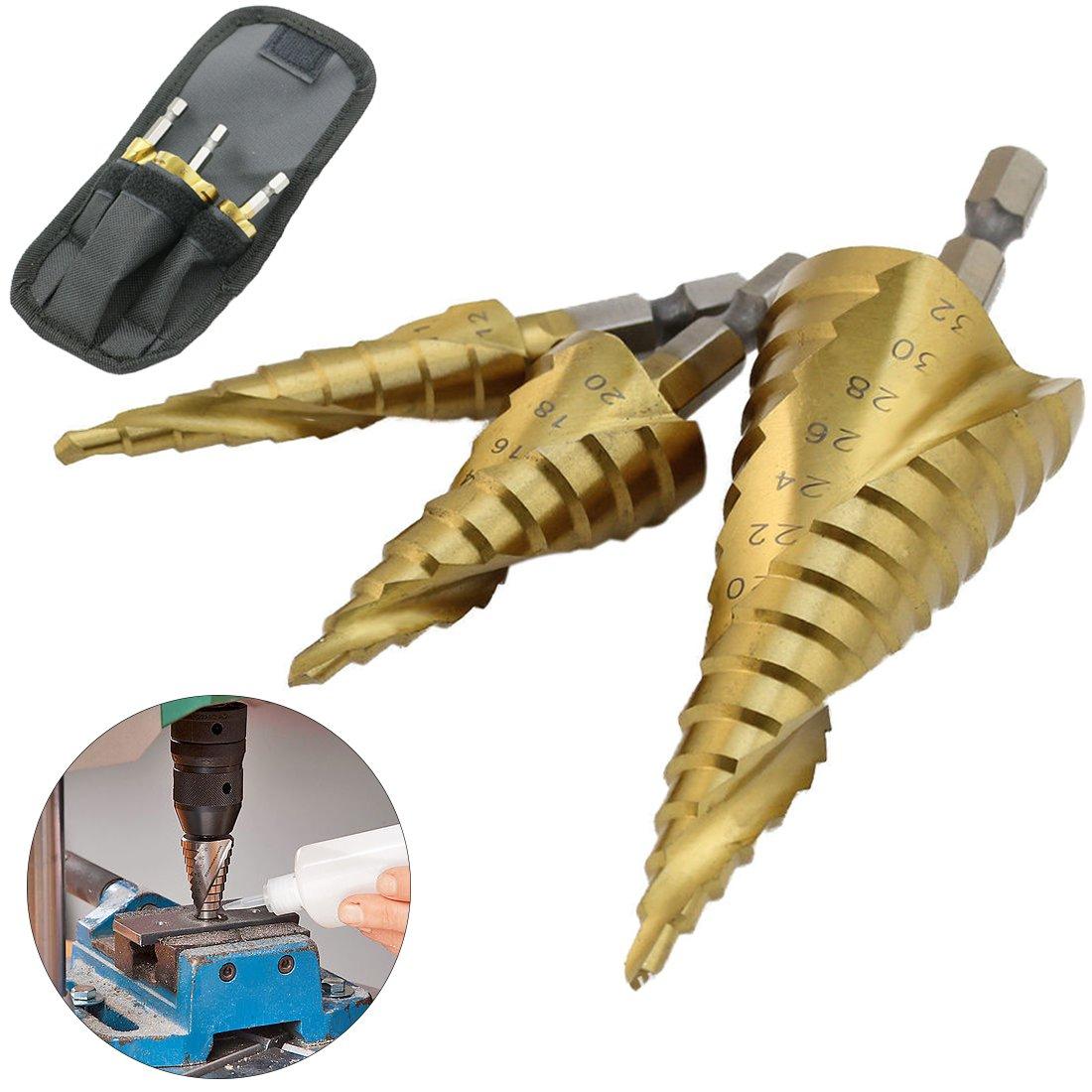 3pcs HSS cono de paso Có nica Brocas Titanio en para Metal mango hexagonal espiral ranura Acero de Alta Velocidad 4-12 4-20 4-32 mm kingmaz