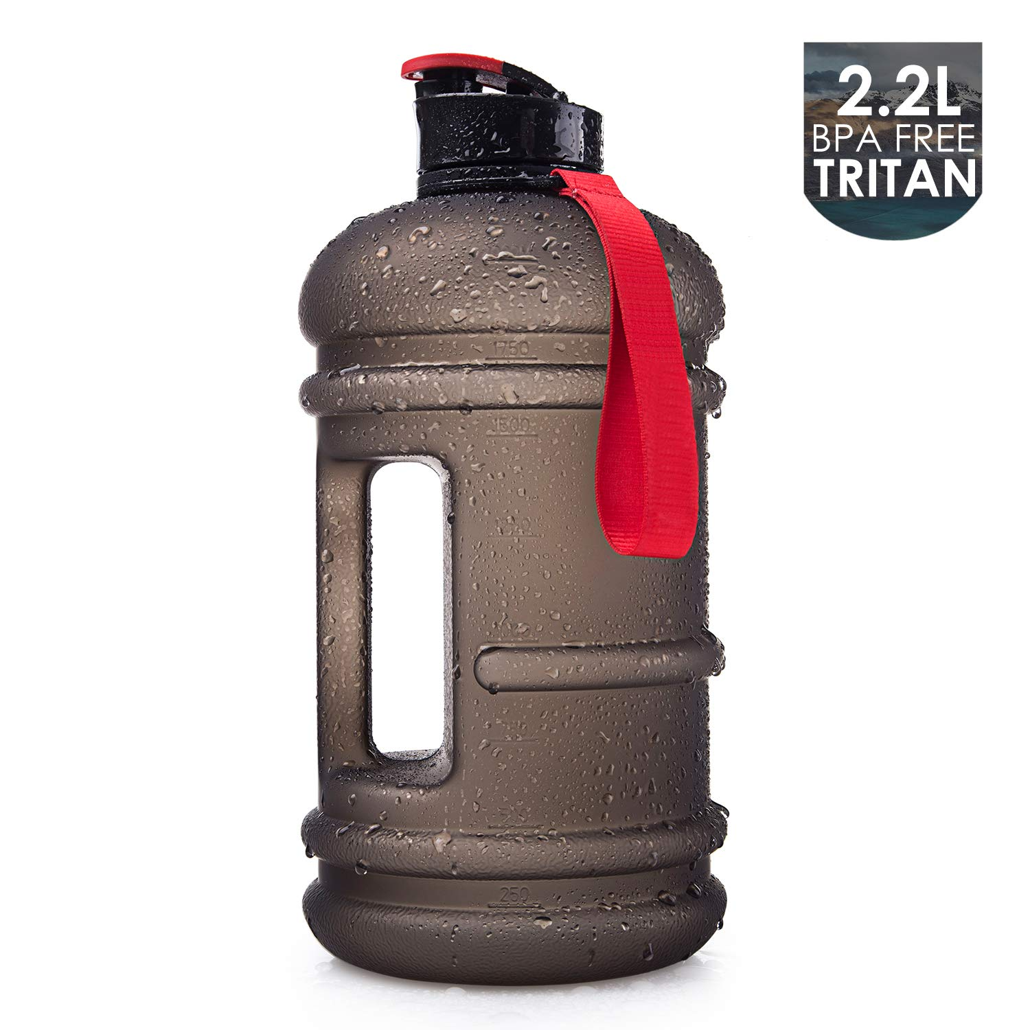 2.2l dishwashersafe frosted ASH BLACK 75oz Moonice Half Gallon Dishwasher Safe 2.2l Litre and 1.3l Big Capacity BPA Free Leakproof Plastic Gym Sports Water Bottle Large Drinking Water Jug Hydrate Container