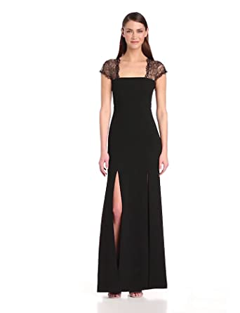 BCBGMAXAZRIA Women's Julia Fitted Evening Gown with Lace Back, Black, 0
