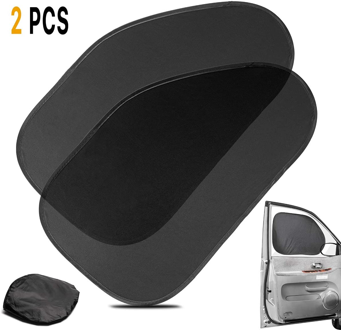 Van SUV Zone Tech Side Window Cling On Sun Shades- 2-Pack Premium Quality Mesh Car Pop-Up Non Suction Cups Needed Sunshade- Protects Kids Baby and Pets from Sun,Glare and UV Rays-Perfect for Car