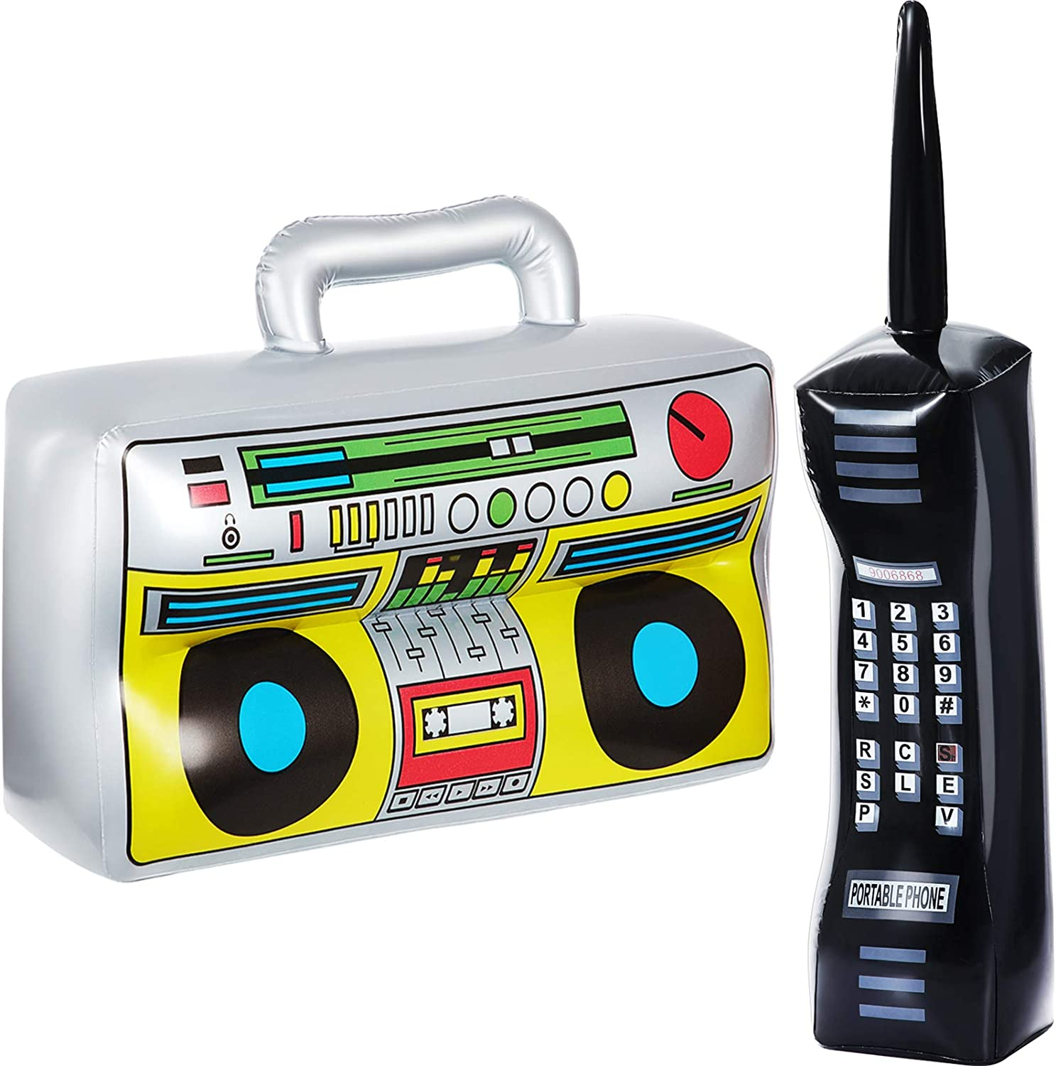 2 Pieces Inflatable Radio Boombox Inflatable Mobile Phone Props for 80s 90s Party Decorations