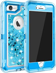 MAXCURY Case for iPhone 7, iPhone 8 Case, Bling Glitter Quicksand Case for iPhone 6s, 3 in 1 Heavy Duty Shockproof Flowing Liquid Protective Defender Clear Case for iPhone 8/7/6/6s - Blue
