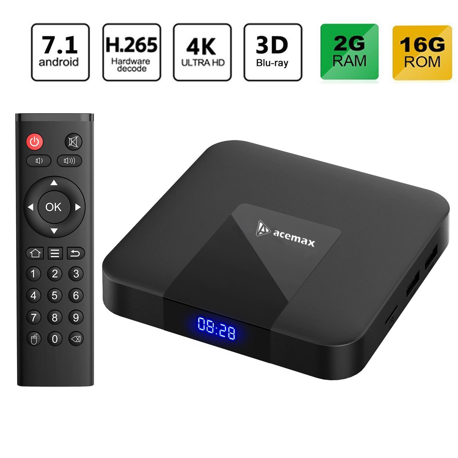 2018 Latest ACEMAX Amlogic Quad Core Android 7.1 TV Box 64Bit Processor 3D 4K H.265 The Future of Television [2GB/16GB] Makes Your TV a Smart TV