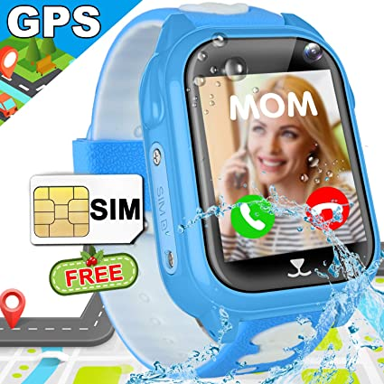 Kids Smartwatch SIM Card Included, GPS Tracker Watch Phone IP68 Waterproof Girls Boys Smart Watches with Games Camera Two Way Call SOS Voice Chat ...