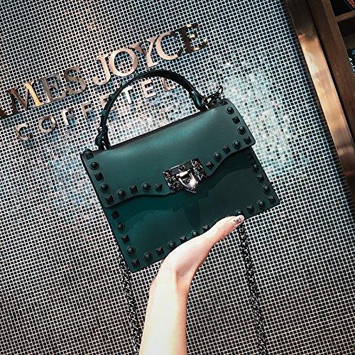 WSLMHH Mode Sac à Sac bandoulière féminine Sauvage Sac de carré Petit chaîne Sac Sac bandoulière Vert à gelée trSrUq
