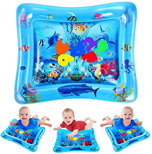VATOS Tummy Time Baby Water Play Mat Toys for 3 6 9 Months Newborn Infant&Toddlers, Inflatable Sensory Toys Gifts for Boy Girl| BPA Free Infant Early Development Activity Centers