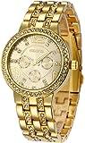 Fanmis Geneva Alloy Band Quartz Watches Luxury Unisex Crystal Wrist Watch Gold