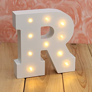 Amazon.com: AMZSTAR White Wood Marquee LED Letter Lights Sign ...