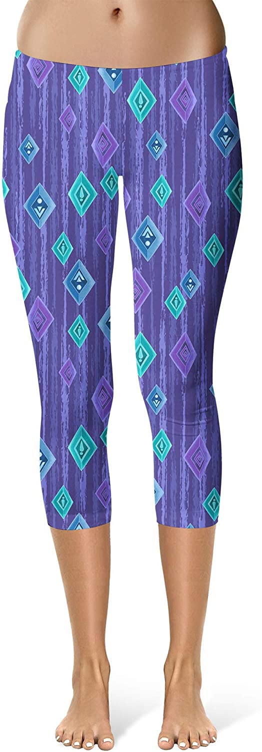 Scandinavian Frozen Crystals Mid Waist Rainbow Rules Sport Leggings Capri Length