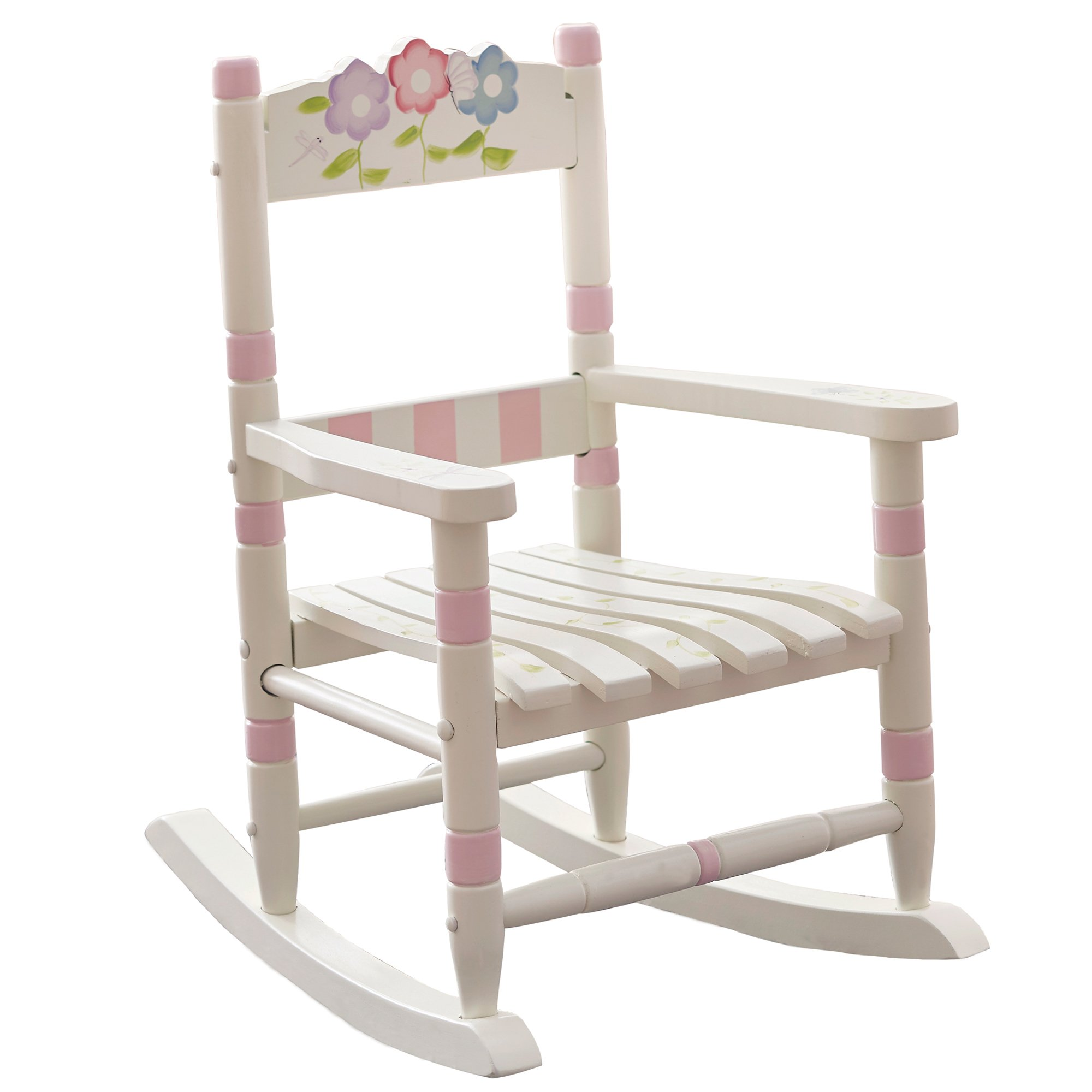 Teamson Design Corp Fantasy Fields - Bouquet Thematic Kids Wooden Rocking Chair Imagination Inspiring Hand Crafted & Hand Painted Details Non-Toxic, Lead Free Water-based Paint