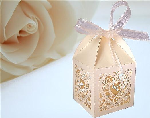 25 ivory heart design luxury lase cut wedding sweets candy gift 25 ivory heart design luxury lase cut wedding sweets candy gift favour boxes with ribbon table junglespirit Gallery