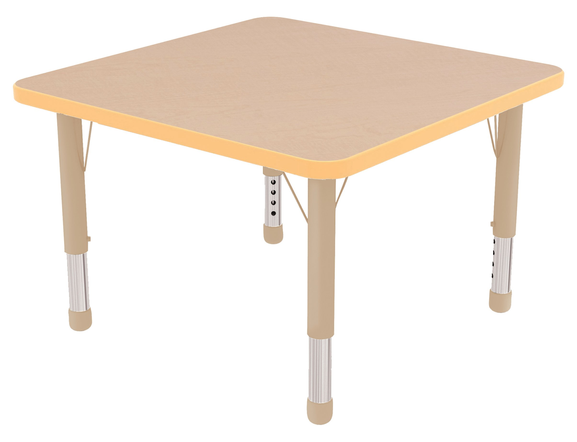 ECR4Kids 30'' Square Activity School Table, Chunky Legs, Adjustable Height 15-24 inch (Oak/Black)