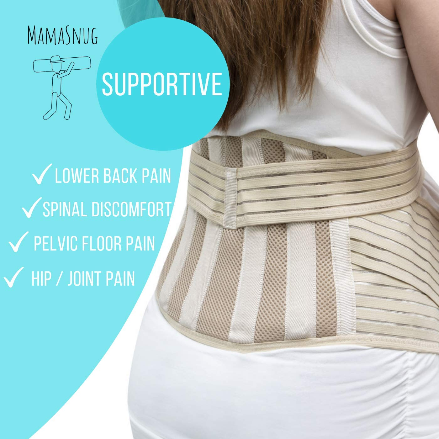 for Back//Pelvic//SI//SPD//PGP Pain Beige Large MamaSnug Pregnancy Support Belt Maternity Belly Band