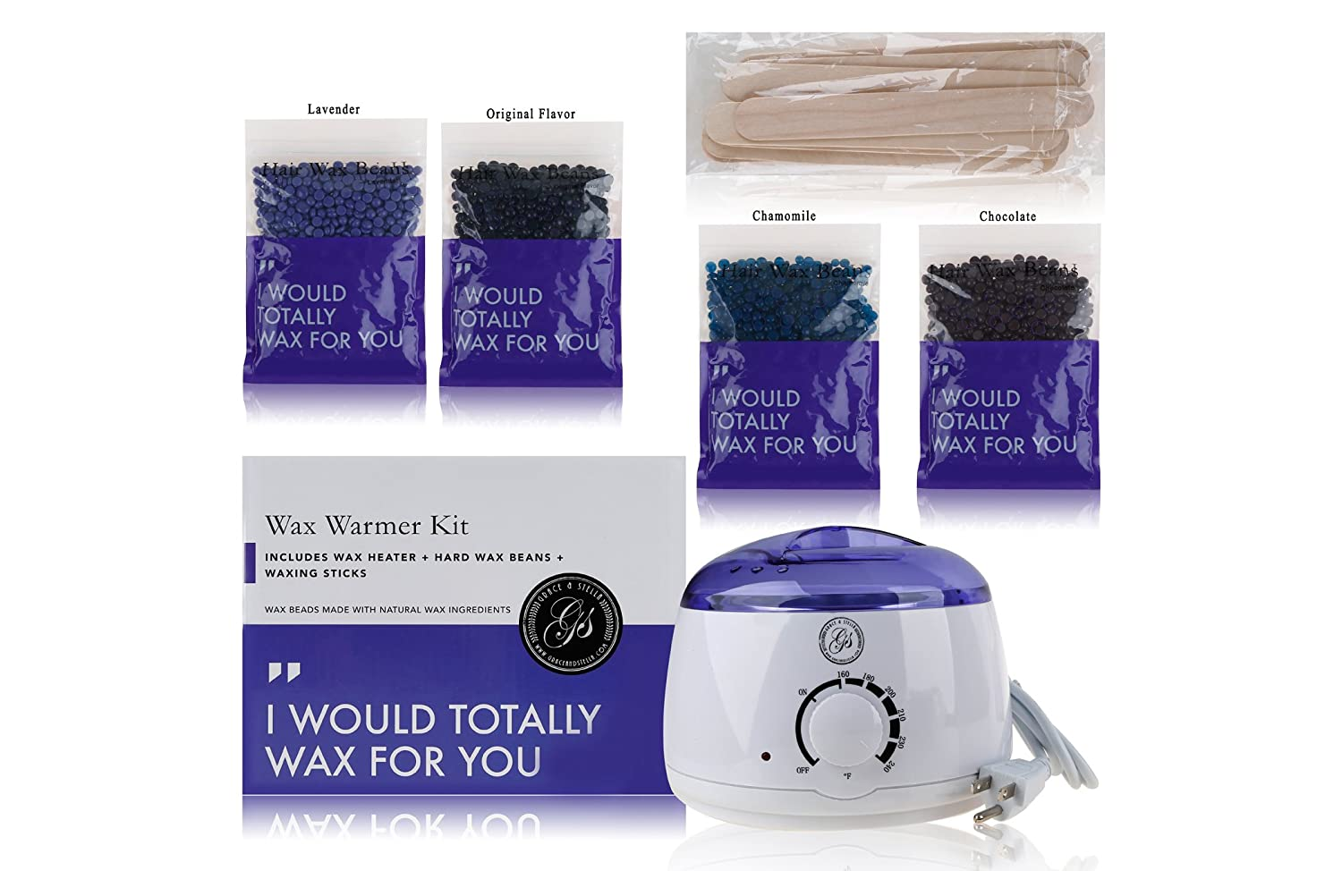 Waxing Hair Removal Hot Pro Wax Warmer Kit with 4 Wax Beads & Applicator Sticks (No Wax Strips Needed) - For Full Body Hair Removing - Professional & At-Home Wax Pot Melter Machine