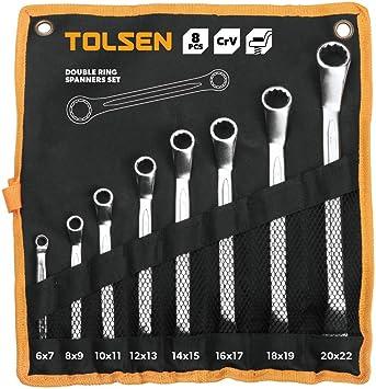 Cablematic - Estuche de 8 piezas de llave fija de anillo doble de herramientas Tolsen: Amazon.es: Electrónica