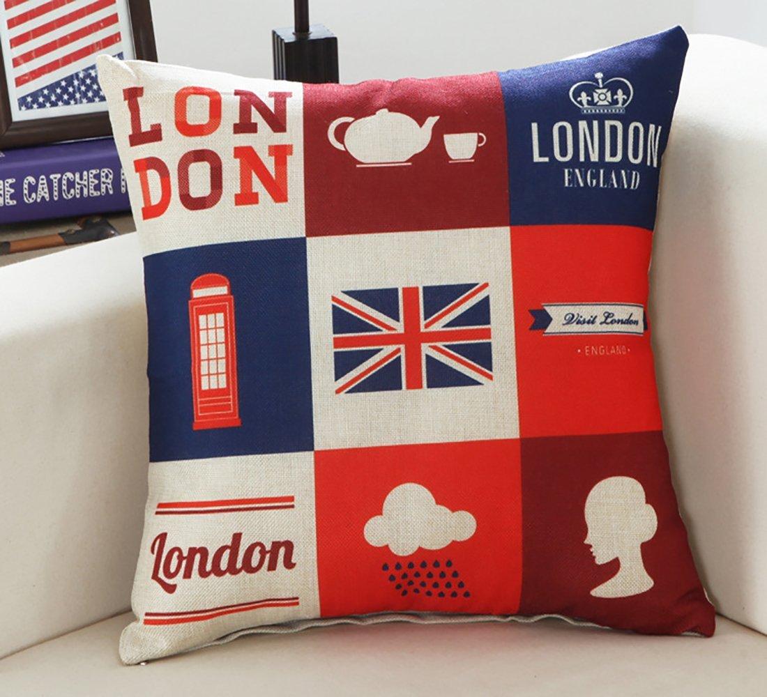 Cojín Londres cuadrado patrón impreso sofá decoración Cojín ...
