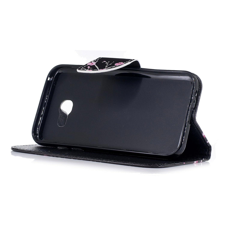 MoreChioce kompatibel mit Galaxy A3 2017 H/ülle,kompatibel mit Galaxy A3 2017 SchutzH/ülle Bunt Blau Schmetterling Lederh/ülle Klappbar Stand Flip Case Leder Wallet Case Kartenfach,EINWEG