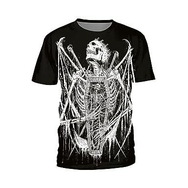 Unisex O Neck T-Shirt Punk Scary Skull Pattern Short Sleeve Shirts No.1