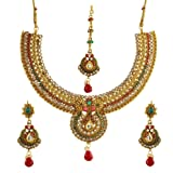 Zeneme Women Gold Plated Jewelry Set Red & Green Beads Round Necklace Earrings Mang Tika For Women