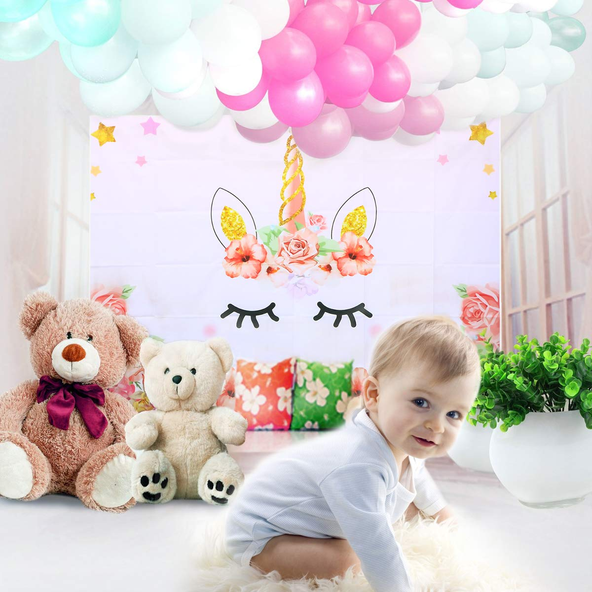 Amazon.com: Uonlytech Unicorn Photo Studio Background 3D Baby Birthday Party Photography Backdrop Unicorn Theme Baby Shower Birthday Party Decorations ...