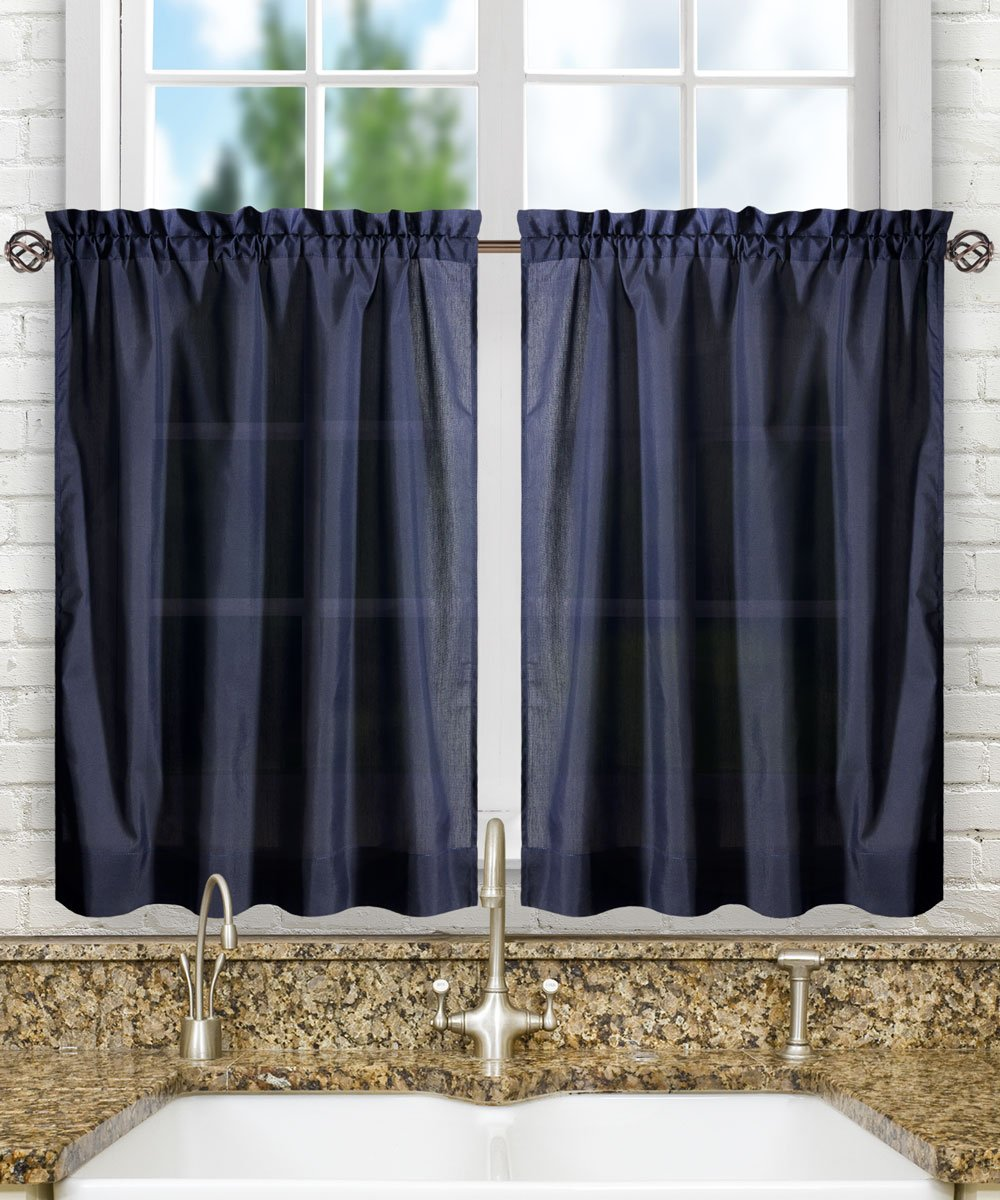 "Ellis Curtain Stacey Tailored Tier Pair Curtains, 56"" x 24"", Navy"