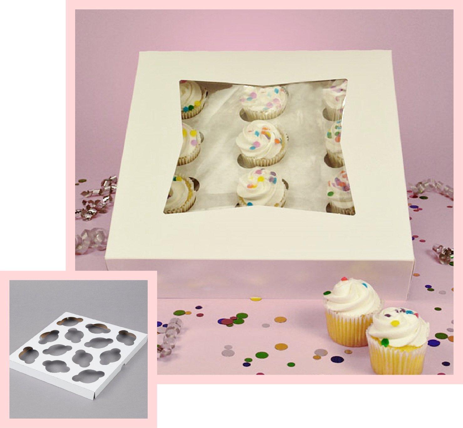Pack of 10 Window Mini Cupcake Box 9 x 9 x 2 1/2'' and Inserts w/Signature Party Picks