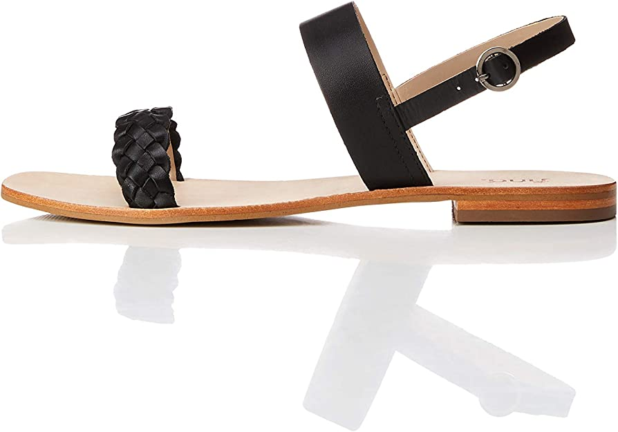 Marca Amazon find. Two Band Slingback Leather Sandalias con punta abierta Mujer