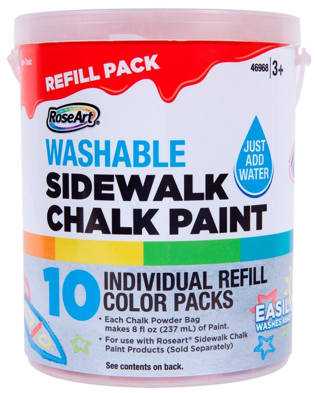 amazon com rose art sidewalk chalk paint bucket refill 10ct toys
