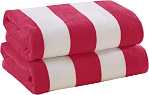 2 Pack Plush Velour 100% Cotton Beach Towels. Cabana Stripe Pool Towels for Adults. (Bright Pink, 2 Pack- 30