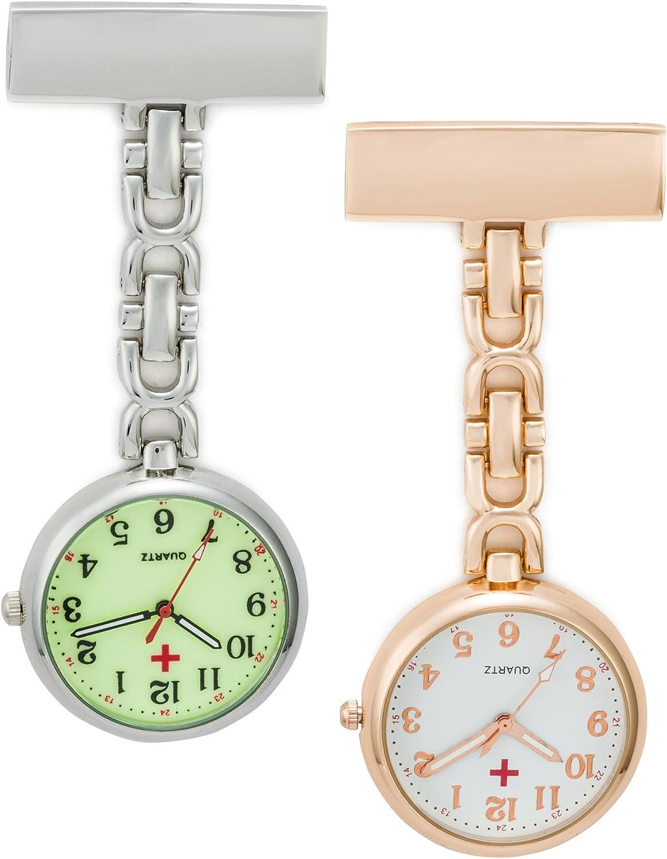 SEWOR Reloj para Personal médico Colgante Reloj de Bolsillo – con Profundo Azul Marca Piel Caja Gran Regalo