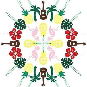 WATINC 28pcs Hawaiian Felt Ornament Set, Hawaii Ornaments for Tree, Flamingo Palm Leaves Hanging Decoration, Pineapple Shaped Cutouts, Decor for Summer Tropical Beach Party, Aloha Luau Party Supplies