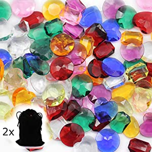 Allstarco Pirate Jewels in Valour Treasure Pouches 1 Inch Decor Plastic Gems for Party & Games, Table Scatter, Vase Fillers, Wedding Decor Gemstones Favors