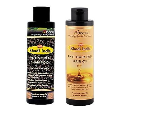 Khadi Abeers Combo de Khadi - Aceite anticaída para el cabello 225 ml & Vetiveria Champú