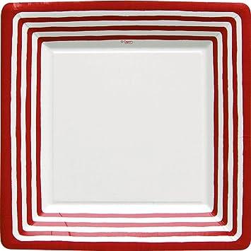 Entertaining with Caspari Stripe Border Paper Dinner Plates Red Pack of 8  sc 1 st  Amazon.com & Amazon.com | Entertaining with Caspari Stripe Border Paper Dinner ...