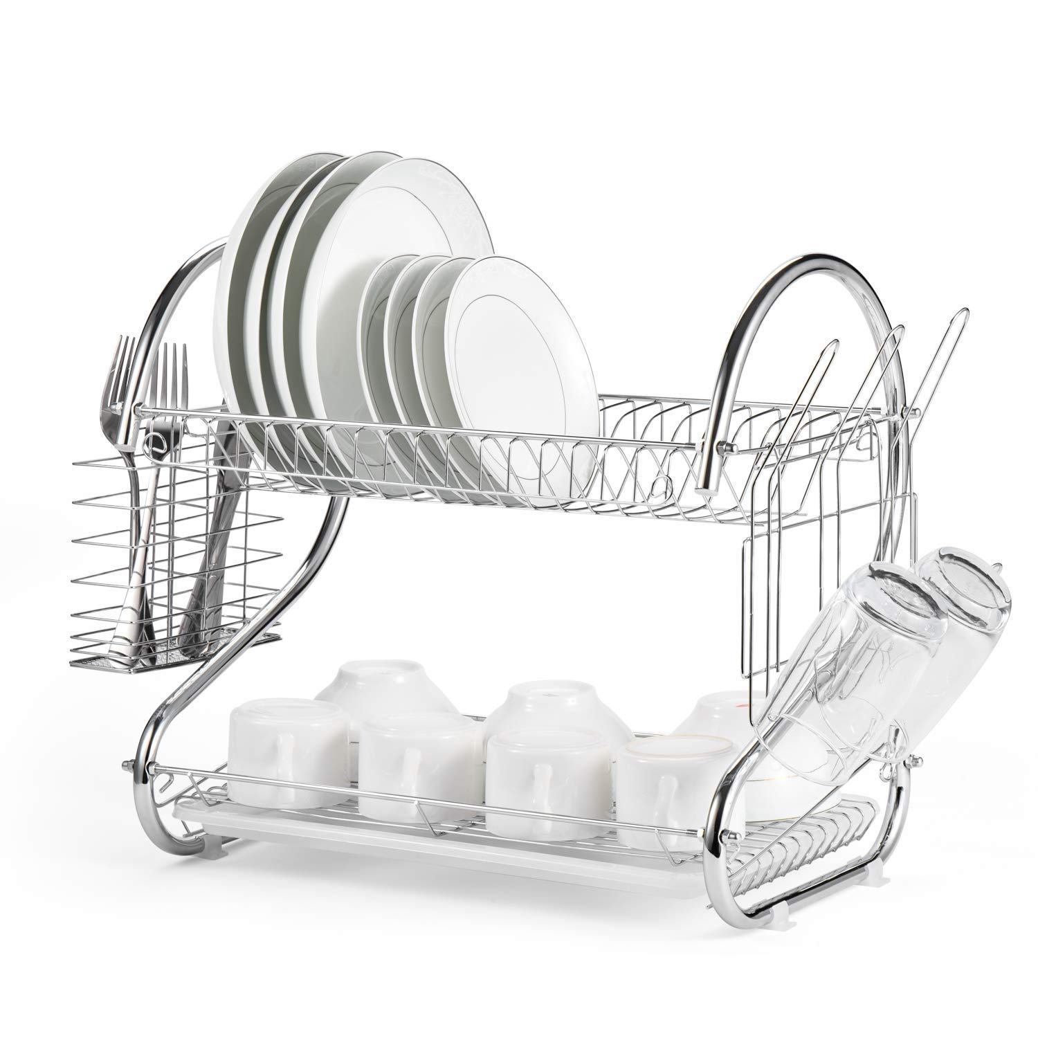 Fashine Multifunctional Dish Drying Rack, 2 Tier Dish Rack with Utensil Holder, Cup Holder and Dish Drainer, Plated Chrome Dish Dryer 15.74 x 14.57 x 9.84 inch