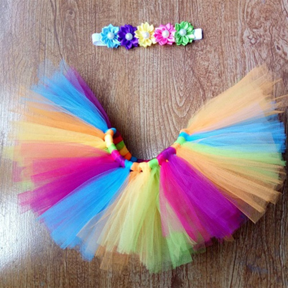 bismarckbeer reci/én nacido beb/é fotograf/ía Props ropa arco iris tut/ú de tul falda con diadema para 0/ /6/meses multicolor Talla:0-3M
