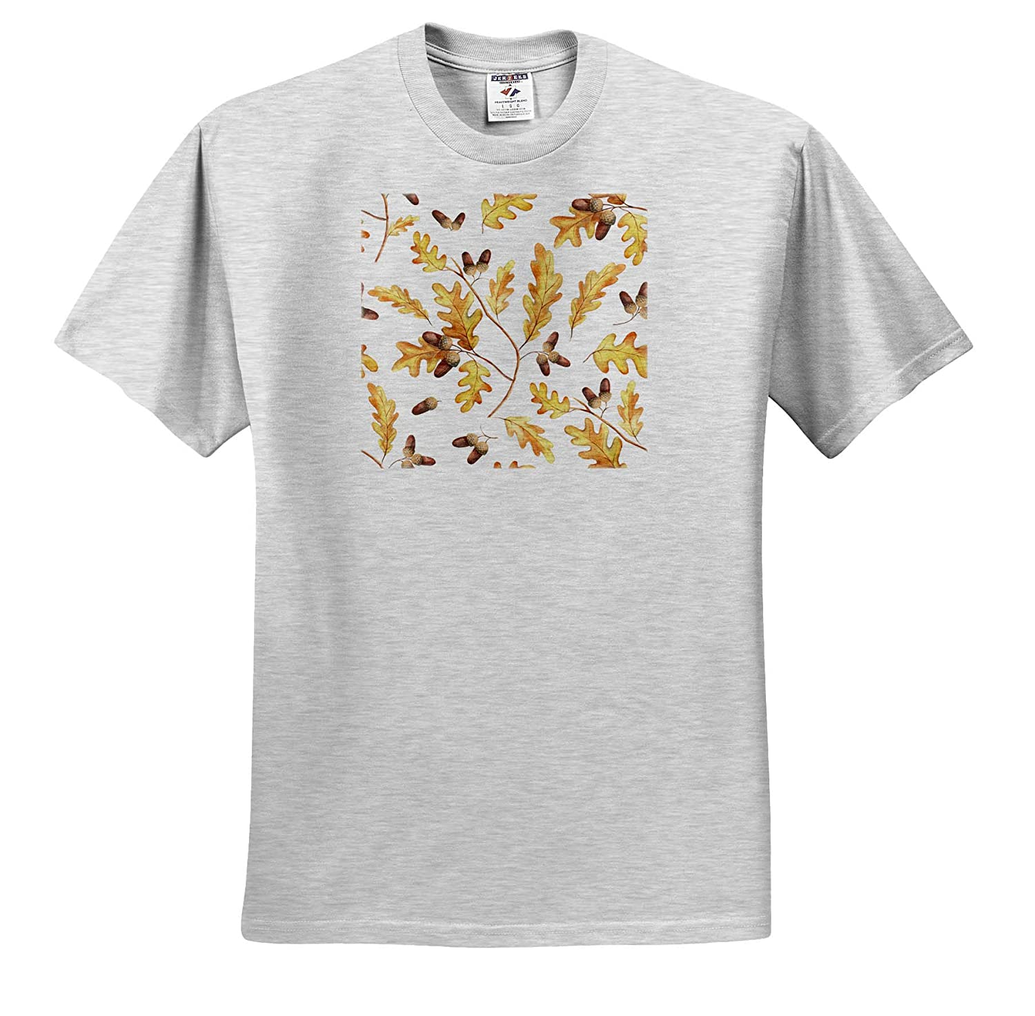 Beautiful Pattern of Oak Leaves and Acorns on White Background T-Shirts Pattern Autumn 3dRose Alexis Design
