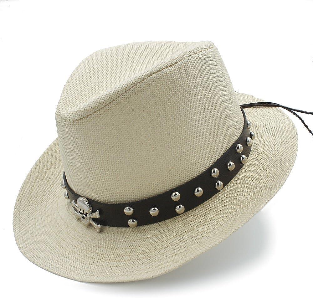 Mens Straw Western Sombrero Cowboy Hats with Punk Belt M.D.Y