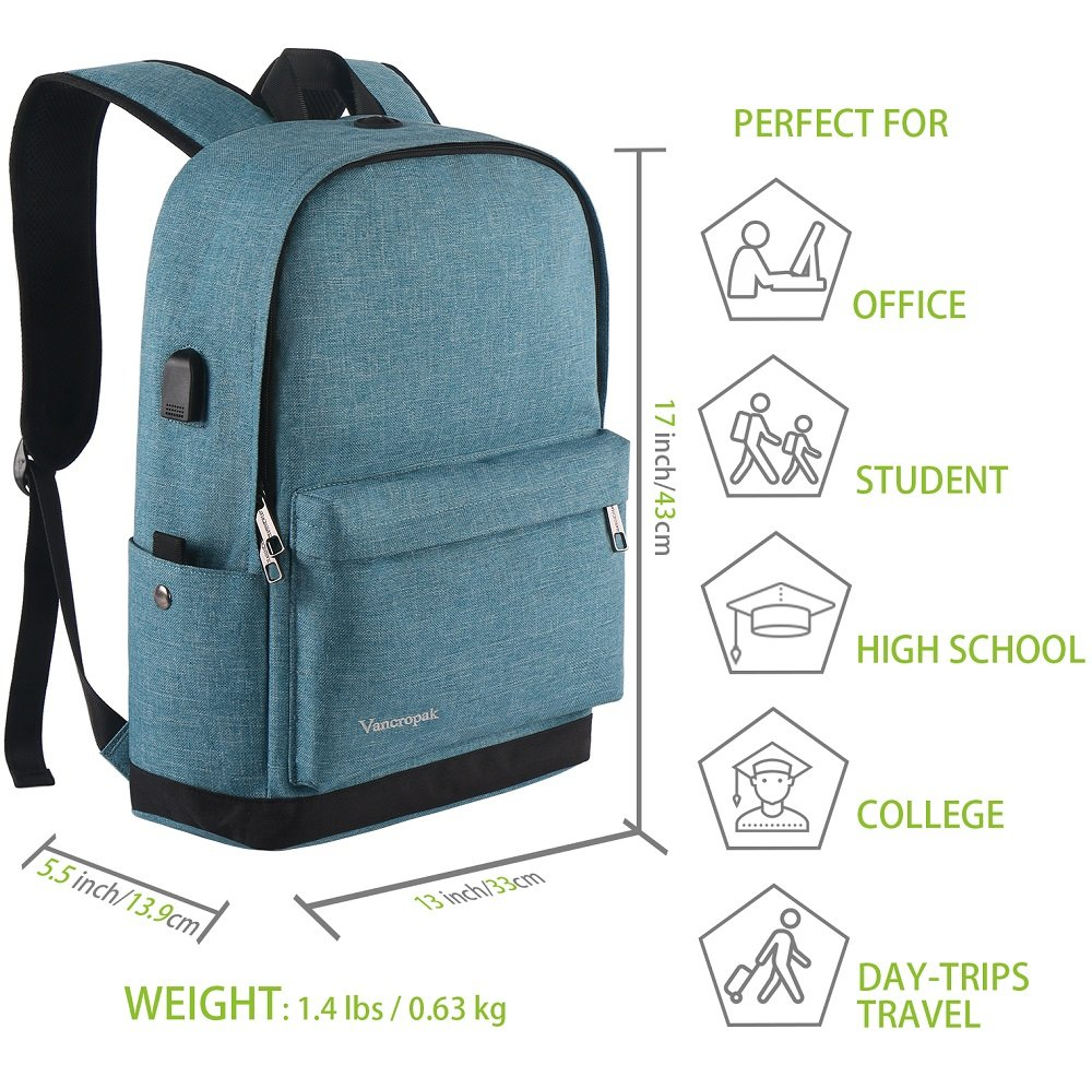 High School Backpack, Middle Student Bag with USB Port for Men Women Teen, Causel Basic Bookbag Fits 15.6 Inch Laptop/Notebook Designed for Travel Work Study - Purplish Blue by Vancropak (Image #6)