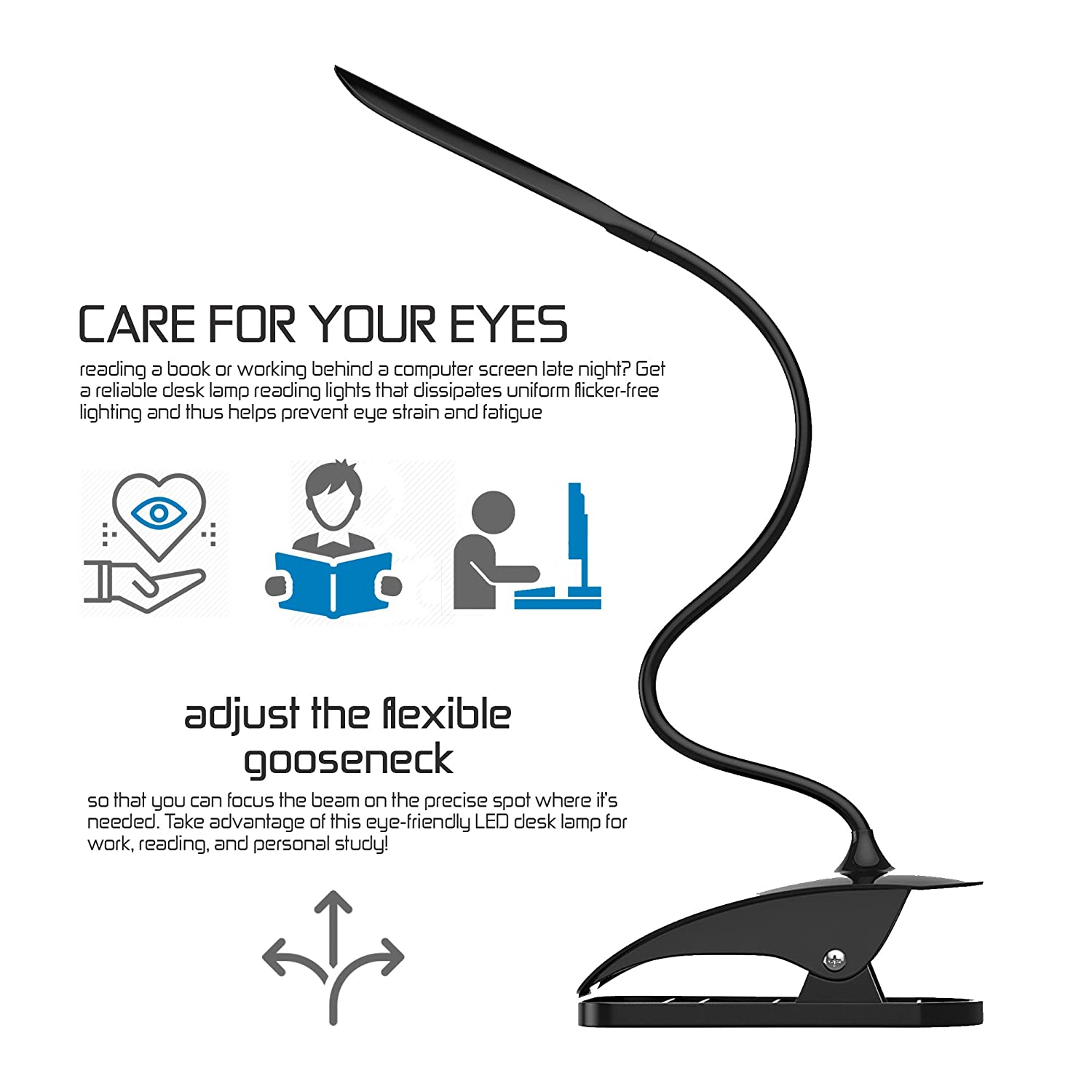 The Official Sensilamp Desk Lamp Reading Book Light [smart Touch]   Rechargeable Led Table Clip On Light For Books, Kindle, Bedside, Night,  Living Room,