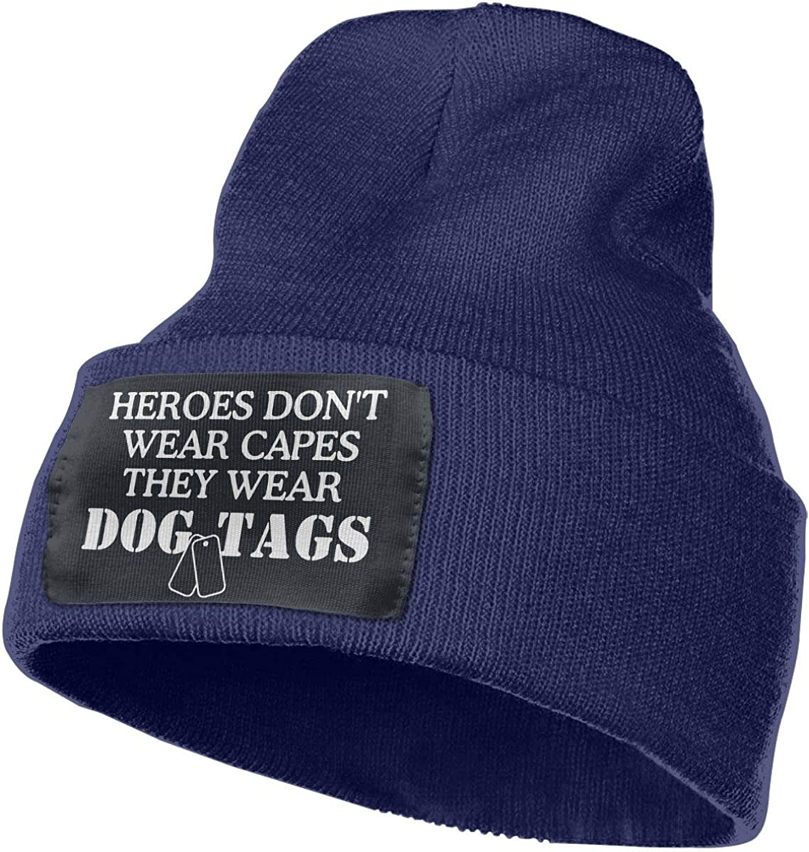 Beanie Heroes Dont Wear Capes They Wear Dog Tags Knitted Hat Winter Skullcap Men Women