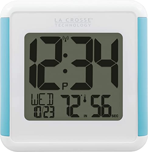 La Crosse Technology 515-1912-INT Splash-Proof Shower Cube Atomic Clock with Temperature Humidity, White