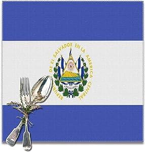 Placemats El Salvador Flag Placemats for Dining Table Heat Resistant Place Mats Decor Kitchen Table Mat Set of 6
