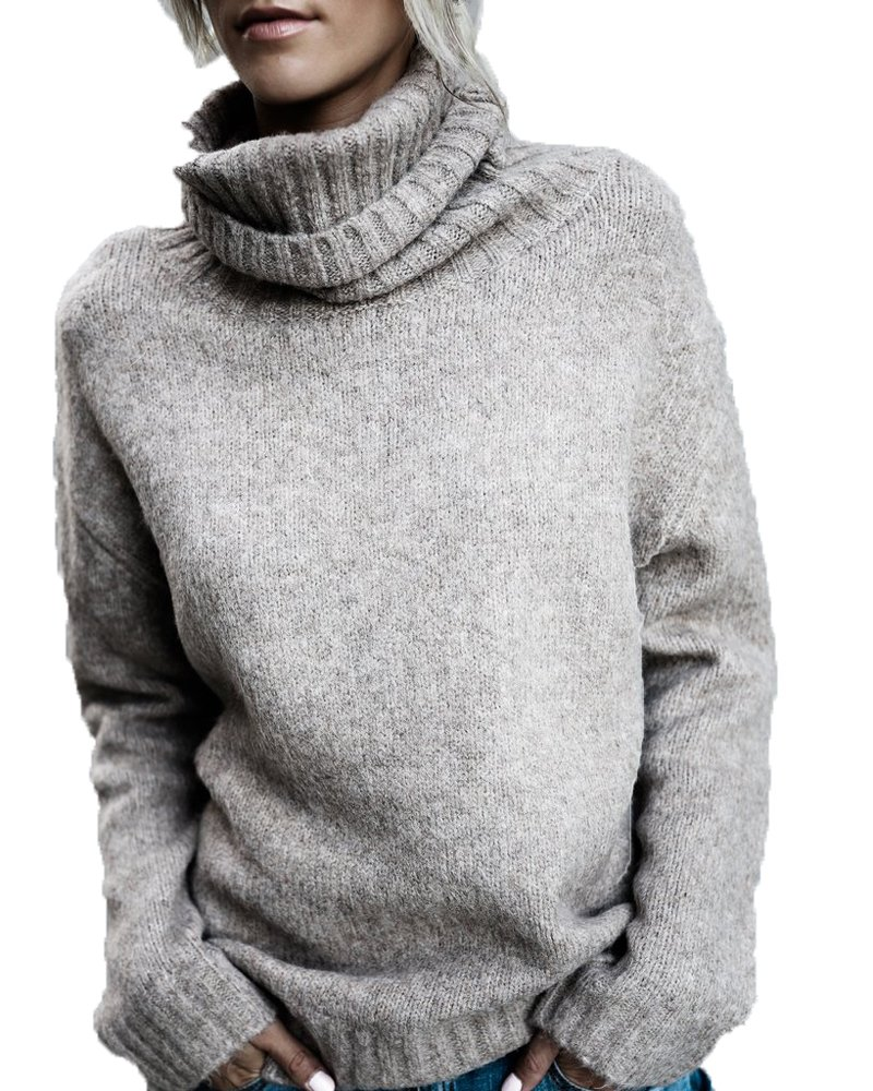 FISACE Women Solid Round Neck Oversized Turtleneck Full Sleeve Knitted Sweater Pullover