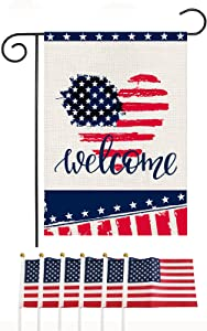 Memorial Day Welcome Garden Flag 12.5×18 Inch with 6 Pcs Small USA Flag, Double Sided Burlap 4th of July Independence Day Patriotic American Star and Strip Love Heart Veteran Soldier Yard Outdoor Decor