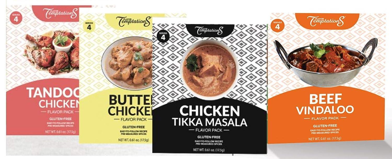 CHICKEN TIKKA MASALA, BUTTER CHICKEN, TANDOORI CHICKEN, BEEF VINDALOO INDIAN FOOD SPICES Beginner Seasoning Set by Flavor Temptations. Gluten free, Salt free. 4 Packs (Total 16 Servings)