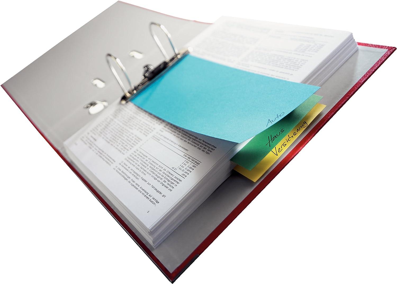 5 Packungen = 125 St/ück Leitz Trennstreifen Stabiler Pendarec-Karton 180 g//qm farbig Sortiert Trennstreifen farbig Sortiert Stabiler Pendarec-Karton 180 g//qm