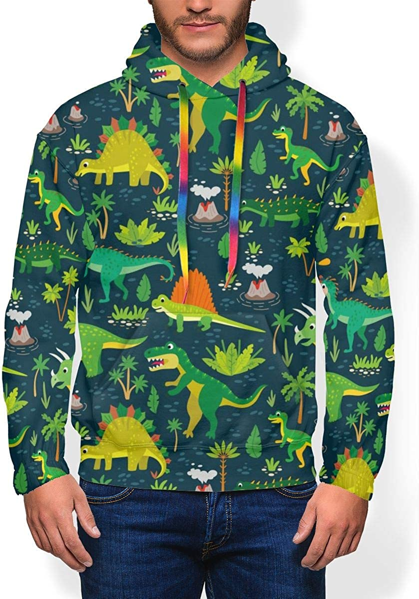 RZM YLY Dinosaurs and Tropical Leaves Printed Hoodies for Men Pullover Hooded Shirts